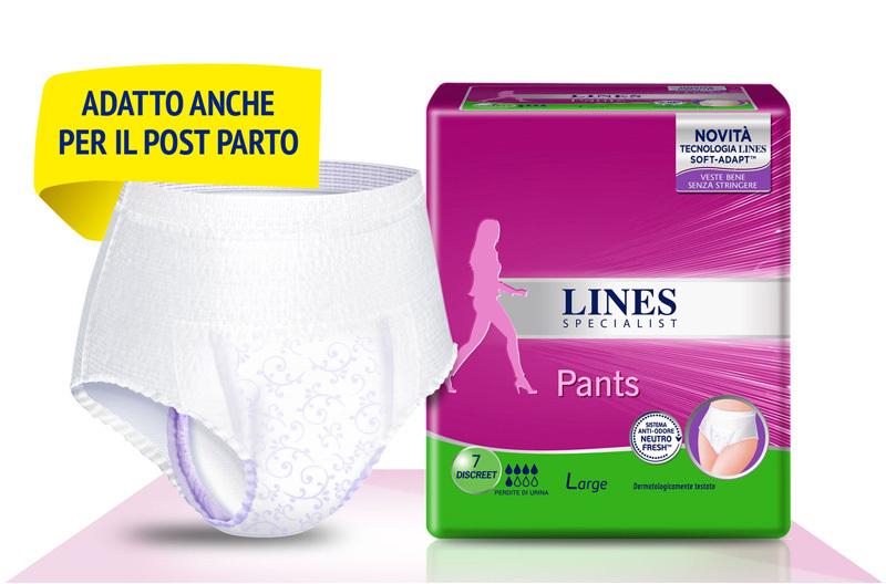 Acquista online Lines Specialist Pants DiscreetUltra Mini | Linea prodotto Medie e Alte per donna. Lines Specialist, prodotti per perdite di urina Pants Discreet - taglia Large
