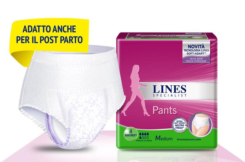 Acquista online Lines Specialist Pants DiscreetUltra Mini | Linea prodotto Medie e Alte per donna. Lines Specialist, prodotti per perdite di urina Pants Discreet - Taglia Medium