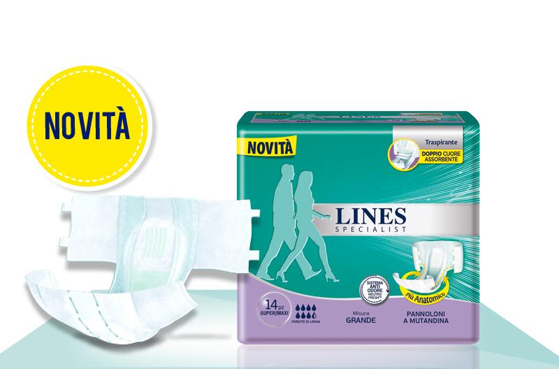Acquista online Lines Specialist Pannolone a Mutandina Super/MaxiUltra Mini | Linea prodotto Alte per uomo e donna. Lines Specialist, prodotti per perdite di urina Pannolone a Mutandina Super/Maxi - Taglia Grande