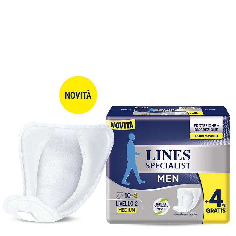 Acquista online Lines Specialist Assorbente maschile | Linea prodotto per uomo. Lines Specialist, prodotti per perdite di urina Assorbente maschile - Livello 2 Medium