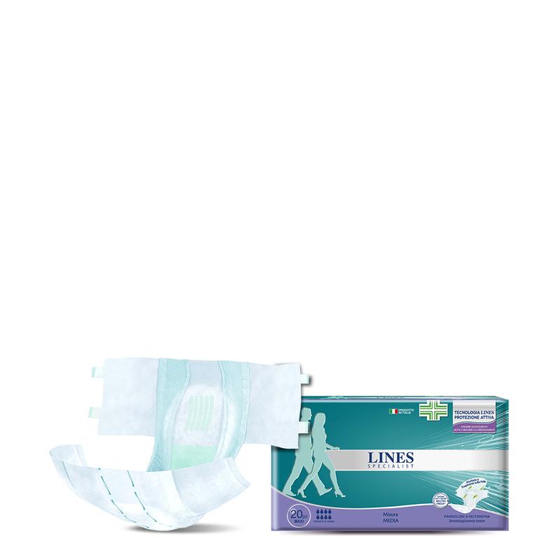 Acquista online Lines Specialist Pannolone a Mutandina MaxiUltra Mini | Linea prodotto Alte per uomo e donna. Lines Specialist, prodotti per perdite di urina Pannolone a Mutandina Maxi - Taglia media