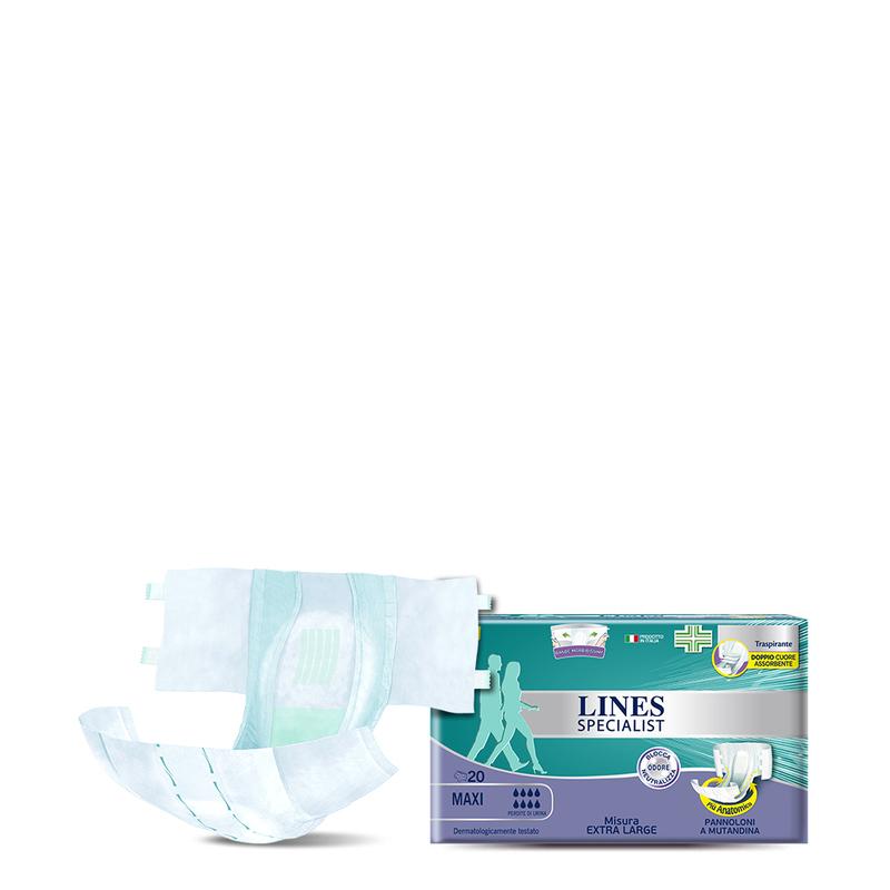 Acquista online Lines Specialist Pannolone a Mutandina MaxiUltra Mini | Linea prodotto Alte per uomo e donna. Lines Specialist, prodotti per perdite di urina Pannolone a Mutandina Maxi - Taglia XL