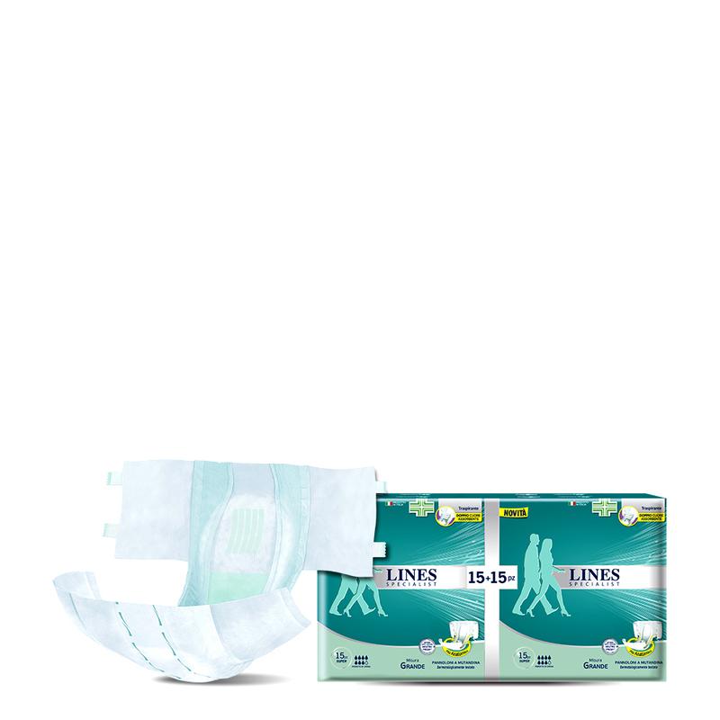 Acquista online Lines Specialist Pannolone a Mutandina SuperUltra Mini | Linea prodotto Alte per uomo e donna. Lines Specialist, prodotti per incontinenza. Pannolone a Mutandina Super - Taglia media